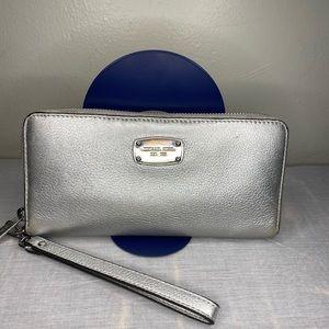 Michael Kors Silver Metallic Leather Clutch